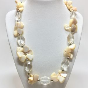 Long Yellow and White Shell and Crystal Necklace